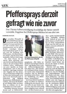 Artikel über Pfeffersprays und Selbstvereidigung in der Kleinen Zeitung (Januar 2016)