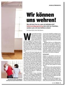 Artikel über Selbstverteidigung für Frauen im News Magazin (Februar 2016)