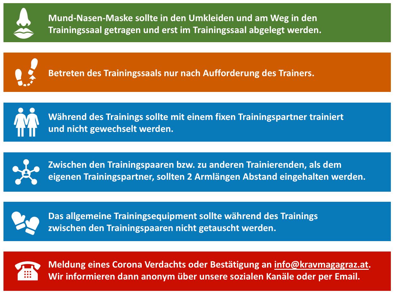 COVID-19 Regelungen für das Training